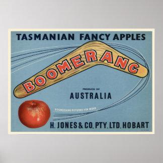 Poster with Vintage Tasmanian Crate Label Print