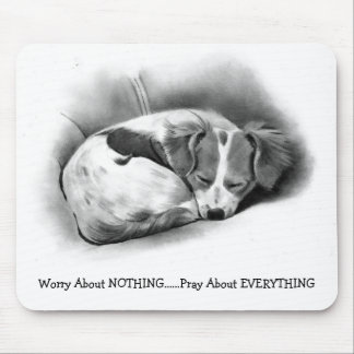 PRAY, DO NOT WORRY: SLEEPING DOG: PENCIL ART MOUSE PAD