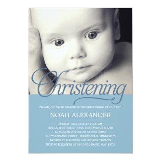 Precious Script Photo Christening Invitation -Blue