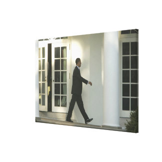 President Barack in deep thought as he walks Canvas Prints