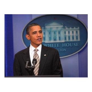 President Barack Obama makes an announcement Postcard