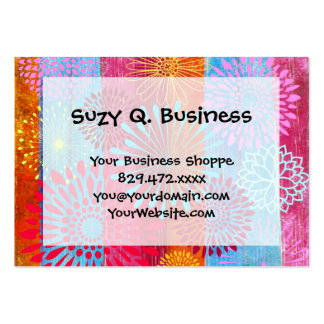 Pretty Bold Colorful Flower Bursts on Wide Stripes Pack Of Chubby Business Cards