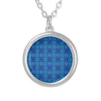 Pretty Geometric Floral in Bold Blue Round Pendant Necklace