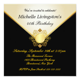 Pretty Ivory Gold Black Womens BirthdayInvitations 13 Cm X 13 Cm Square Invitation Card