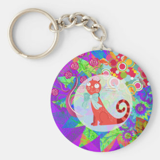 Pretty Kitty Crazy Cat Lady Gifts Vibrant Colorful Basic Round Button Key Ring