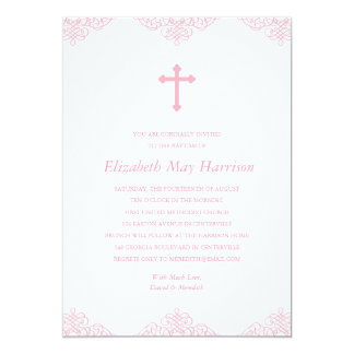 Pretty Lace | Pink Girls Baptism/Christening 13 Cm X 18 Cm Invitation Card