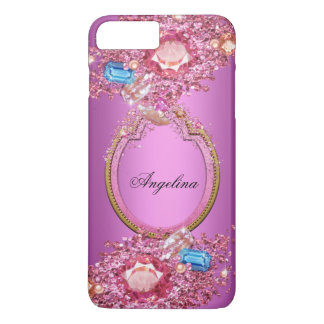 Pretty Pink and Blue Crystals iPhone 7 Plus Case