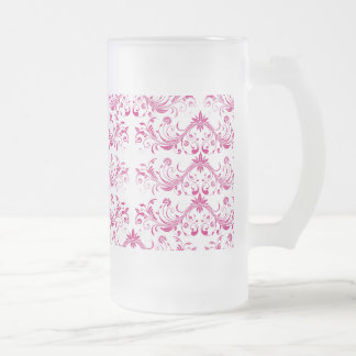 Pretty Pink Flourish Girly Elegant Floral Print Frosted Glass Mug