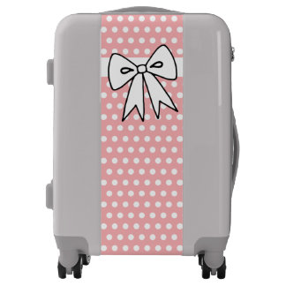 Pretty Pink Polka Dot Bow Luggage