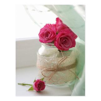 Pretty Pink Roses in a Glass jar Postcard