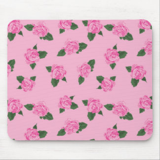 Pretty pink roses on a pink background mouse pad