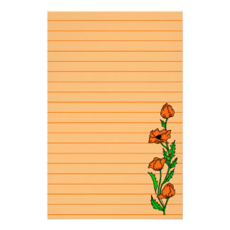 Pretty Poppy Art Graphic Lined Customised Stationery