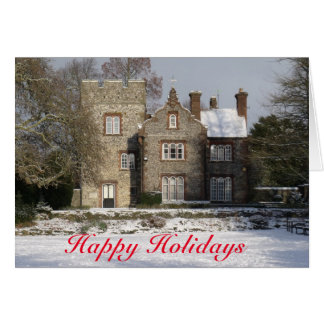 Pretty Snow Scene Old Buildings Happy Holidays Greeting Card