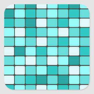 Pretty Turquoise Aqua Teal Mosaic Tile Pattern Square Sticker