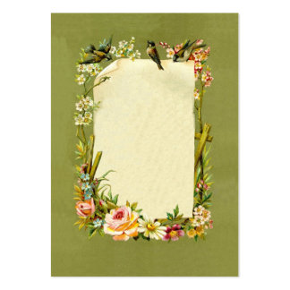 Pretty Vintage Birds & Flowers Border Decoration Pack Of Chubby Business Cards