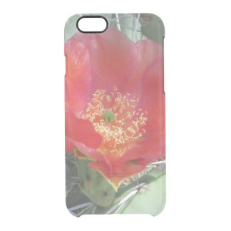 Prickly Pear Green with Red Bloom Clear iPhone 6/6S Case