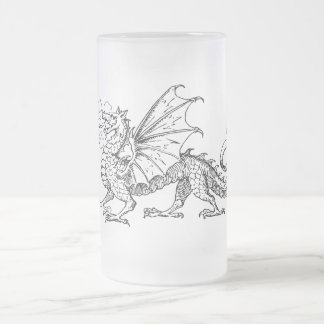 Primping Dragon Frosted Glass Mug