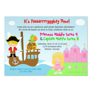 Princess and Pirate Twins Joint Birthday Party 13 Cm X 18 Cm Invitation Card