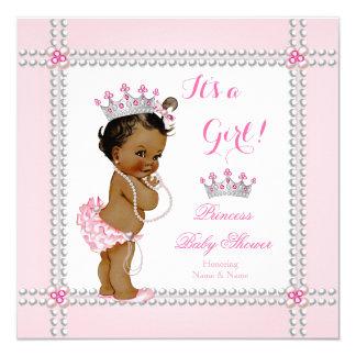 Princess Baby Shower Girl Pink Pearls Ethnic Dark 13 Cm X 13 Cm Square Invitation Card