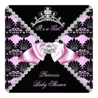 Princess Baby Shower Pink Black Lace Diamond 13 Cm X 13 Cm Square Invitation Card