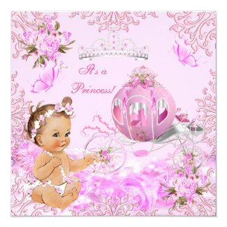 Princess Girl Baby Shower Pink Carriage 13 Cm X 13 Cm Square Invitation Card