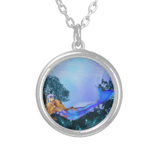 Princess Mermaid Round Pendant Necklace