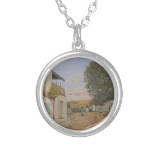 Princesse Street in Louveciennes by Alfred Sisley Round Pendant Necklace
