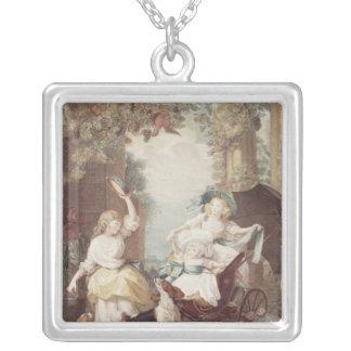 Princesses Mary , Sophia  and Amelia Square Pendant Necklace