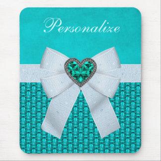 Printed Aquamarine Heart Faux Jewel & Bow Mouse Pad