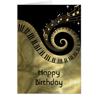 Printed  Piano Keys and Gold Music Notes Greeting Card