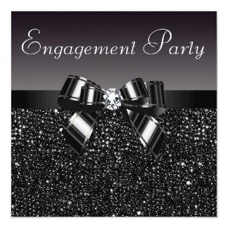 Printed Sequins, Bow & Diamond Engagement Party 13 Cm X 13 Cm Square Invitation Card