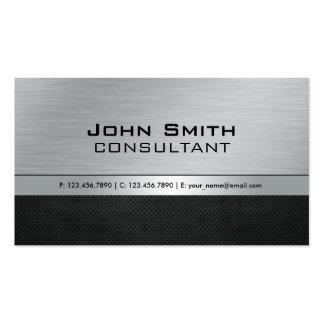 Professional Elegant Modern Silver Black Metal Pack Of Standard Business Cards