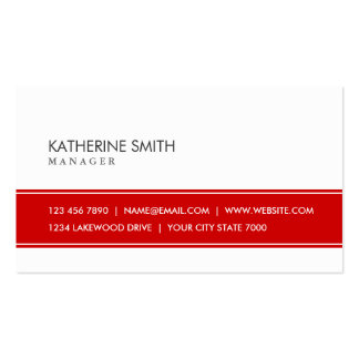 Professional Elegant Plain Simple Red and White Pack Of Standard Business Cards