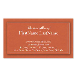 Professional Lawyer Business Cards in Orange