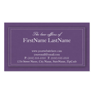 Professional Lawyer Business Cards in Purple