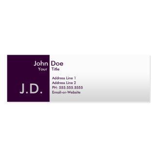 professional purples pack of skinny business cards