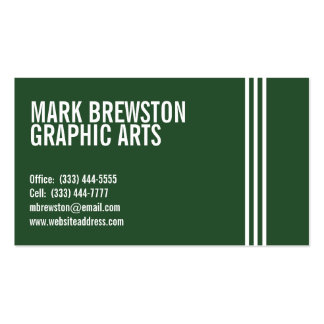 Professional Stripes Business Cards in Dark Green