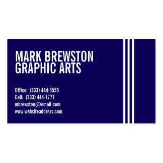 Professional Stripes Business Cards in Navy Blue