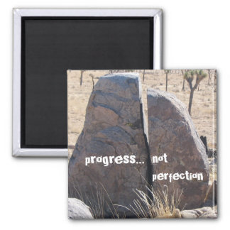 Progress not perfection square magnet