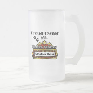 Proud Owner World's Greatest Shiba Inu Frosted Glass Mug