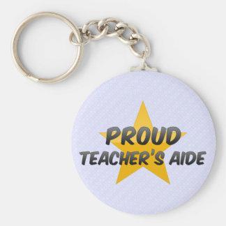 Proud Teacher's Aide Basic Round Button Key Ring