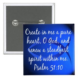 Psalm 51:10 15 cm square badge