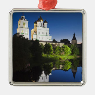 Pskov Kremlin and Trinity Cathedral reflected Silver-Colored Square Decoration