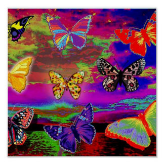 psychedelic Butterflies Poster