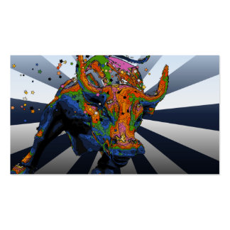 Psychedelic NYC: Charging Bull of Wall Street Pack Of Standard Business Cards