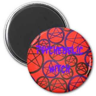 psychedelic witch 6 cm round magnet