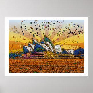 Psychedelic World: Sydney Skyline A1 Poster