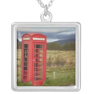 Public Phone Box, Ellishadder, near Staffin, Square Pendant Necklace