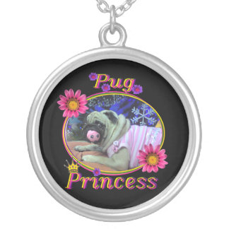 Pug Princess Round Pendant Necklace