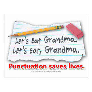 Punctuation Saves Lives Postcard